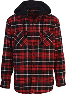 Men's Removable Hoodie Plaid Checkered Flannel Button Down Shirt