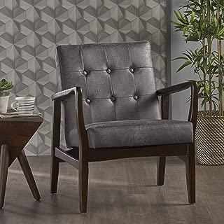 Christopher Knight Home Conrad Mid Century Modern Arm Chair in Slate Micro Fiber