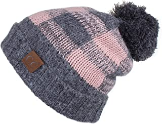 C.C Exclusives Buffalo Check Pattern Fuzzy Lined Knit Pom Beanie Hat (HAT-55)