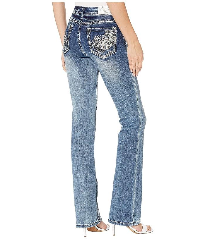 Grace in LA Feather Jeans in Medium Blue (Medium Blue) Women's Jeans