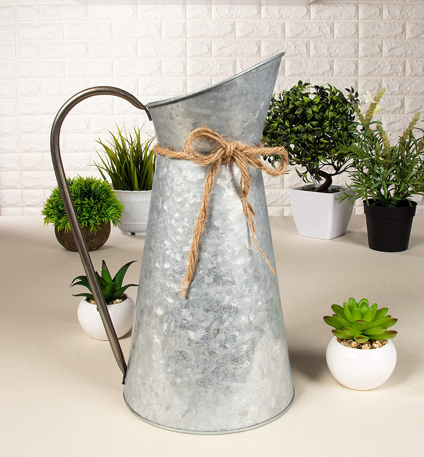 30.5 cm Rustic Galvanized Vase with Handle Watering Can