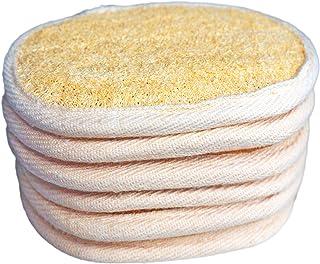 6Pack 100% Natural Exfoliating Loofah Pads Luffa and Terry Cloth Materials Loofa Sponge Scrubber Brush Close Skin for Men ...