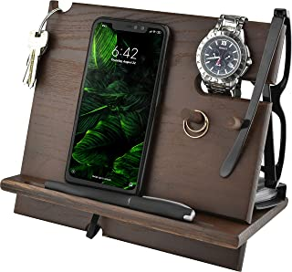 BarvA Wood Dock-ing Station Dark Cell-Phone Smart-Watch Holder Men Charging Accessory Night-Stand Father Mobile Gadget Dar...