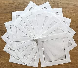 Ladder Hem Stitch White Linen Cocktail Napkins- 1 dozen 6