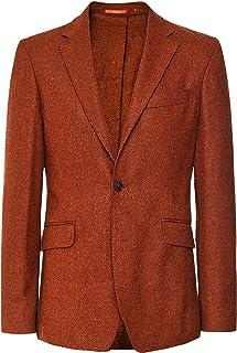 Hackett Men's Mouliné Wool Herringbone Jacket Orange