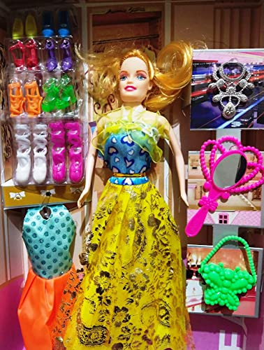 Ravya Girl s Fashion Doll House Set with 8 Pair of Footwear Necklace Hand Mirror 1 Set of Fashion Dress Multicolor