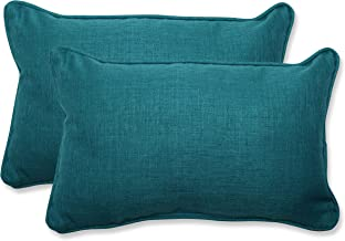 Pillow Perfect Outdoor Rave Teal Rectangular Throw Pillow, Set of 2, Green