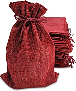 50 Small Burlap Bags with Drawstring, 4x6 Inch (Red)