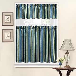 WAVERLYTraditions Kitchen Curtains Set for Windows - Stripe Ensemble 52
