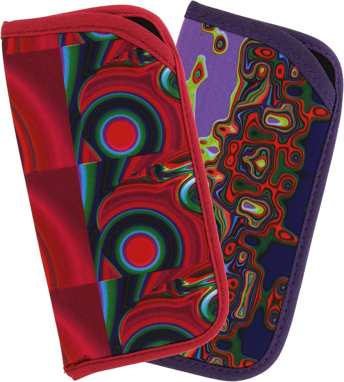 2 Pack Soft Slip In Eyeglass Case For Women & Men, Colorful Psychedelic Designs