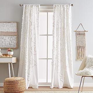 "Peri Home Gates Tufted Chenille Rod Pocket Window Curtain Panel Pair, 108"", White"