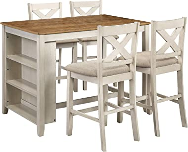OSP Home Furnishings Century 5-Piece Dining Set, Antique White