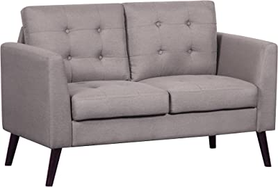 Container Furniture Direct Mysterious Flower Linen Upholstered Mid-Century Modern Loveseat, Light Brown
