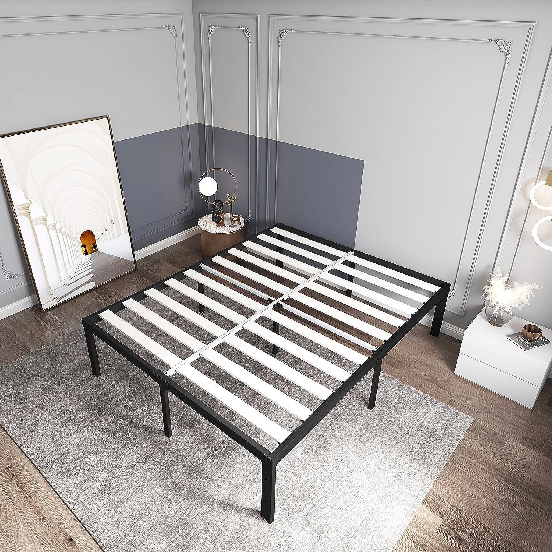 ZIYOO 20 Inch Full Size Modern Bed Frame with Solid Wooden Slats, Maximum  Storage Metal Platform, No Box Spring Needed Heavy Duty Mattress Foundation  ...