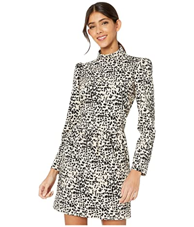 La Vie Rebecca Taylor Long Sleeve Dot Jersey Dress (Creme Brulee Combo) Women