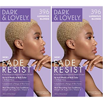 Softsheen-Carson Dark and Lovely Fade Resist Rich Conditioning Hair Color, Permanent Hair Color, Up To 100% Gray Coverage, Brilliant Shine with Argan Oil and Vitamin E, Luminous Blonde, 2 Count