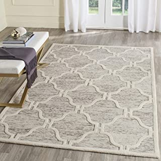 Safavieh Cambridge Collection CAM727R Handcrafted Moroccan Geometric Light Brown and Ivory Premium Wool Area Rug (8' x 10')