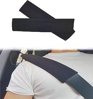 ASARAH Gurtpolster Gurtschutz Gurtschoner Polster für Kinder, Babies und Autofahrer Autogurt mit Klettverschluss Velours schwarz   2 Stück