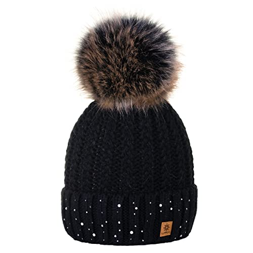 4sold Womens Ladies Winter Hat Wool Knitted Beanie with Large Pom Pom Cap  SKI Snowboard Hats 84c1ed92a6f
