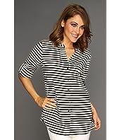 Calvin Klein Striped Crew Roll Sleeve Blouse