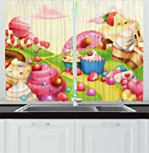 Ambesonne Pink Decor Kitchen Curtains by, Food Theme Sweet Landscape of Candies Cupcakes Lollipop and Ice Cream Print, Window Drapes 2 Panels Set for Kitchen Cafe, 55W X 39L Inches, Multicolor