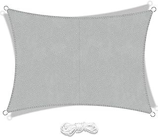 LIAOYI Voile d'ombrage Rectangulaire Polyester Toile d'ombrage Imperméable Anti UV pour Terrasse Camping Extérieur Jardin(...