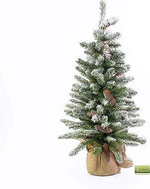 artplants.de Mini Sapin Artificiel Vienne enneigé, Sac de Jute, 90cm, Ø 50cm - Sapin de Table - Arbre de Noël Artificiel