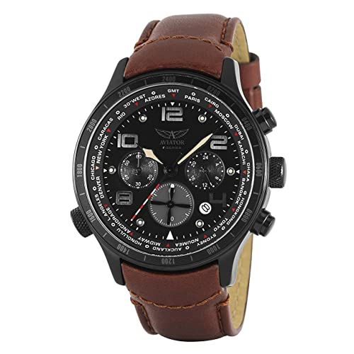 AVIATOR Military Army Mens Wrist Watch Aviation Pilot Cronograph Brown Band Stainless Steel Case F-