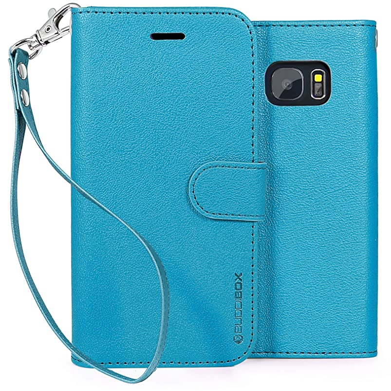 Galaxy S7 Case, BUDDIBOX [Wrist Strap] Premium PU Leather Wallet Case with [Kickstand] Card Holder and ID Slot for Samsung Galaxy S7, (Sky Blue) wwwoutry531336