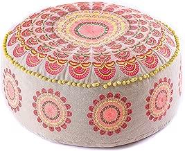 Mandala Life ART Bohemian Yoga Decor Pouf Ottoman - 24x8 inches - Stuffed with Premium Filler - Round Red Mediation Pillow - Cotton Floor Cushion