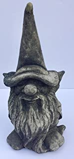 Whimsical Happy Times Gnome Statue Handmade in USA Made of cast Stone Concrete Great for Indoor Our Outdoor 5 finishes Painted Stained or unpainted (Weathered)