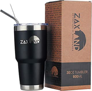 Zaxland 30oz Steel Vacuum Insulated Tumbler Lid Cruiser Straw Closing Travel Mug Cup Double Wall Hydro Lilac Splash Proof Hot Cold Drinks Powder Coated Tumbler Pink Roll Pipe Brush Bundle black