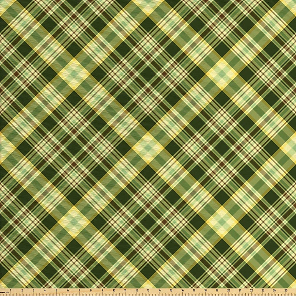 Ambesonne Green and Brown Fabric by The Yard, Diagonal Checkered Pattern Irish Tartan Geometric Classic Arrangement, Decorative Fabric for Upholstery and Home Accents, 2 Yards, Fern Green Brown