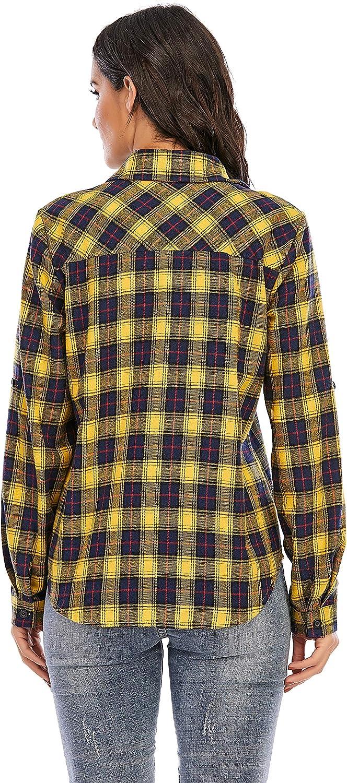 Enjoyoself Women's Plaid Flannel Button Down Shirt Roll Up Long Sleeve Casual Blouse Tops