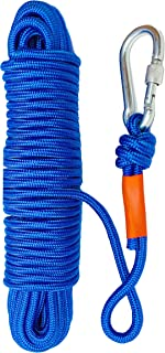 MaxMagnets Rock Climbing Rope, Magnet Fishing Rope with Carabiner 1/4 Inch 6mm x 65 Feet High Strength Cord Safety Rope Max Working Capacity 550LBS, All-Purpose Braided Rope