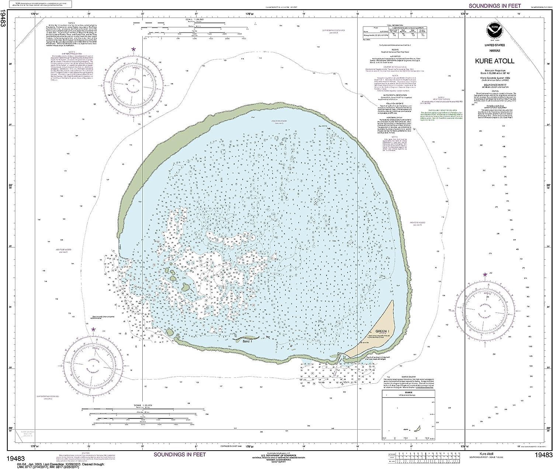 NOAA Chart 19483 Hawai'i Kure Atoll  28.31  X 33.12  Laminated Map