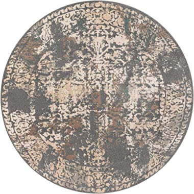 Unique Loom Tuareg Collection Vintage Distressed Traditional Gray Round Rug (8' 0 x 8' 0)