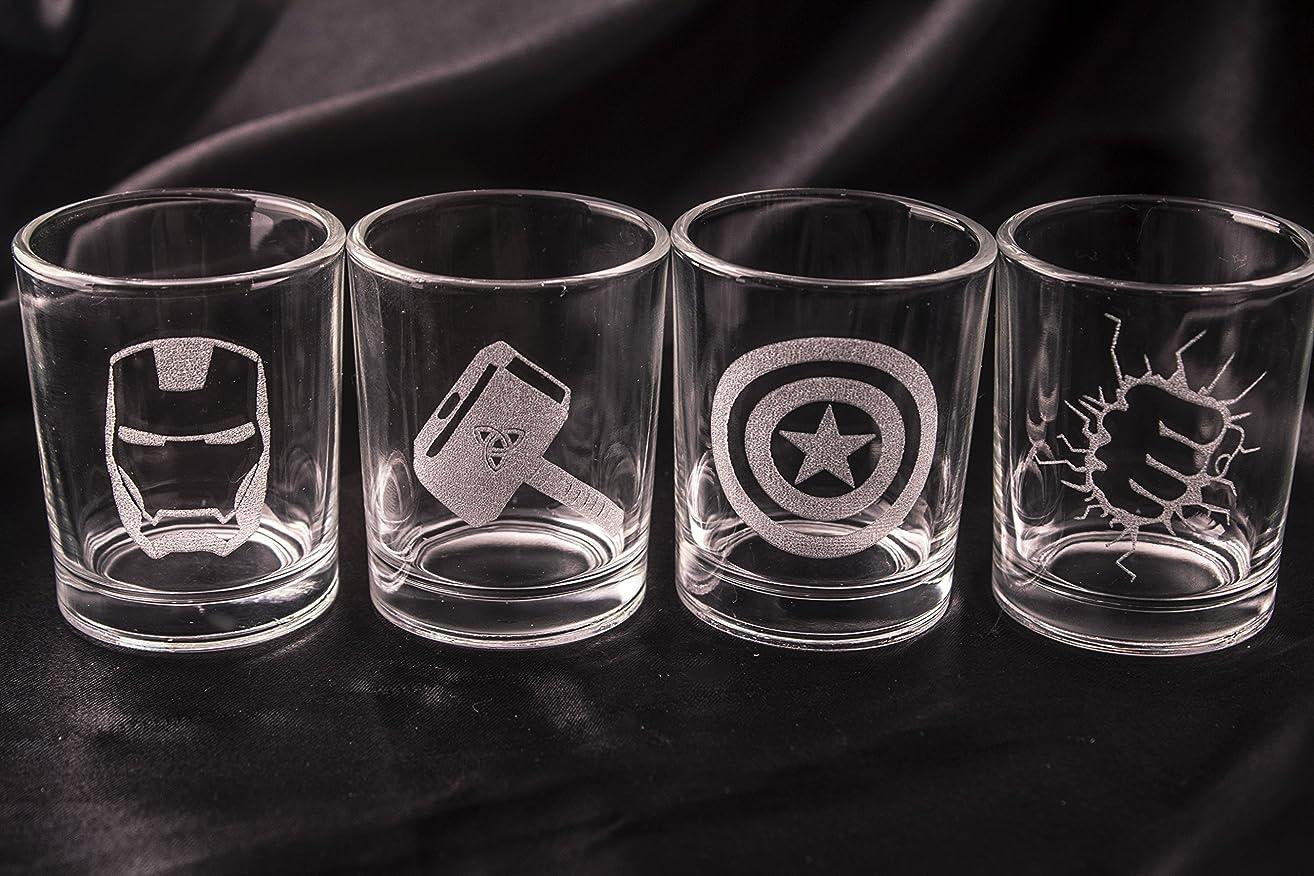 Avengers Shot Glasses - Set of 4 Avengers Logos