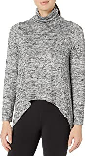 CALVIN KLEIN Performance Women's Funnel Neck Extreme Hi Low Top, Secret, Small