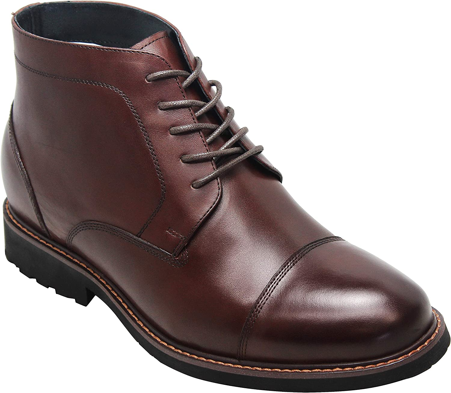 CALTO Men's Invisible Height Increasing Elevator shoes - Dark Brown Leather Lace-up Cap-Toe Boots with Inner Faux Fur - 3.2 Inches Taller - Y41081
