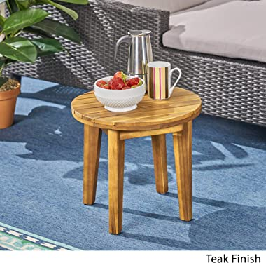 """Christopher Knight Home Parker Outdoor 16"""" Acacia Wood Side Table, Teak Finish"""