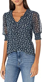 Lucky Brand Women's Elbow Sleeve V-Neck Mixed Media Flutter Top