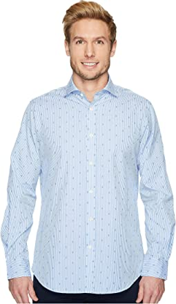 Polo Ralph Lauren Striped Poplin Brownstone Long Sleeve Sport Shirt