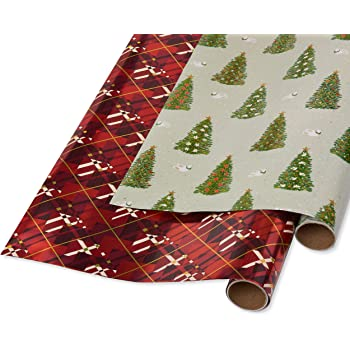 Papyrus Holiday Foil Wrapping Paper, Red Argyle, Pine Trees and Doves (2 Pack)