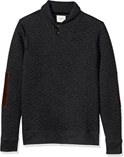 Men's Diamond Quilted Shawl Pullover with Suede Elbow Patches