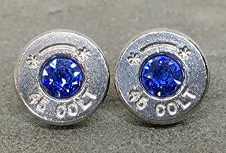 Bullet Casing Stud Earrings Colt 45 Swarovski Sapphire September Birthstone