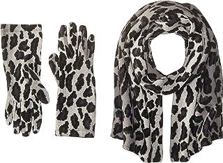 La Fiorentina Women's Leopard Print Scarf and Glove Two-Piece Set