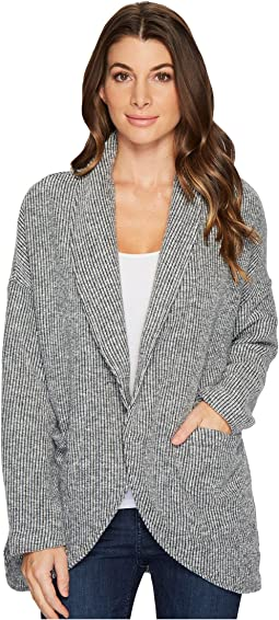 Mod-o-doc - Corded Sweater Knit Shawl Collar Patch Pocket Cardigan
