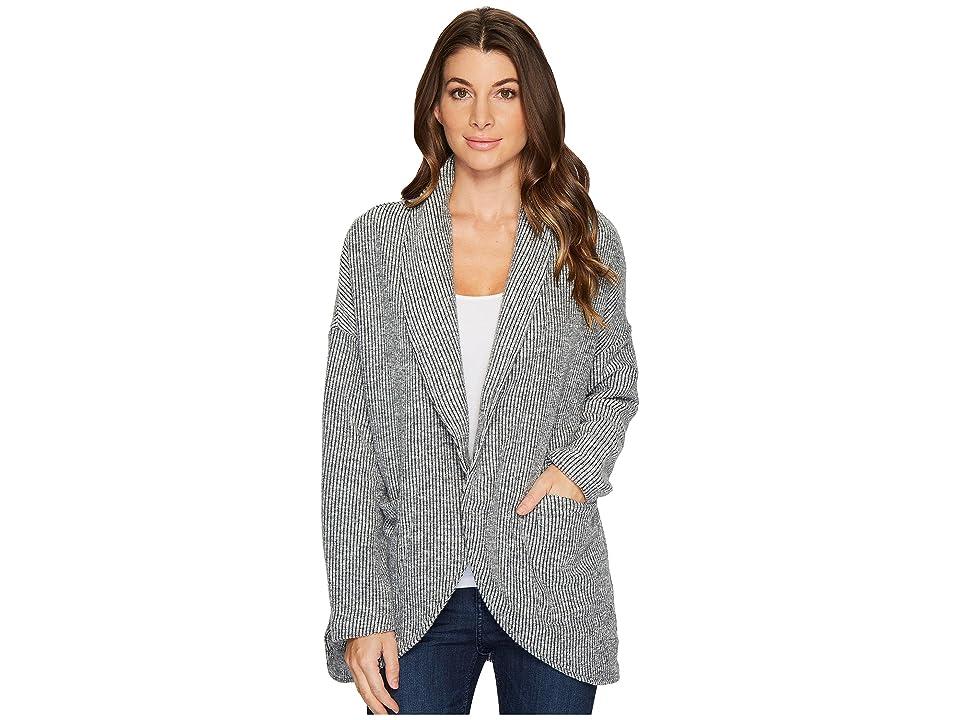 Mod-o-doc Corded Sweater Knit Shawl Collar Patch Pocket Cardigan (Light Grey) Women