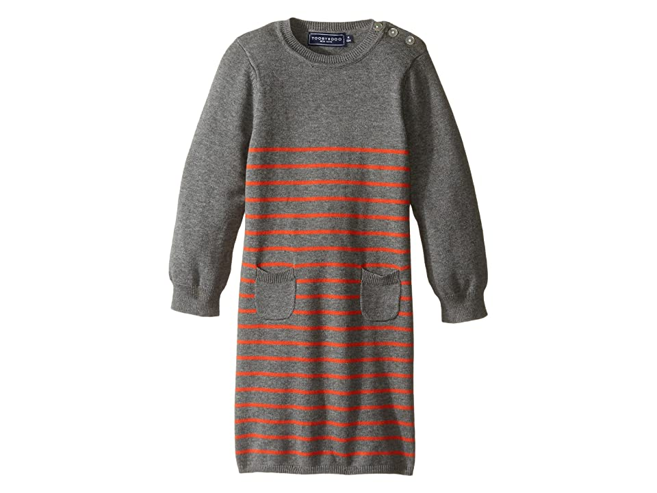 Toobydoo Orange Stripe Sweater Knit Dress (Infant/Toddler) (Gray/Orange) Girl